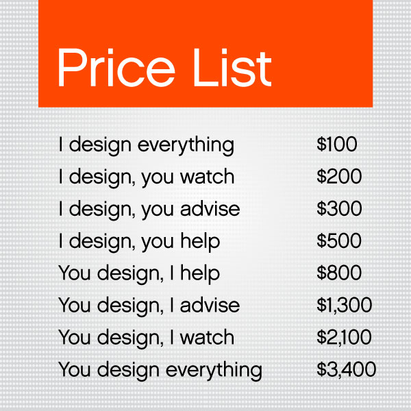 Price list graphic design
